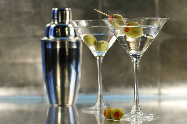 Martinis with shaker  martini glass stock pictures, royalty-free photos & images