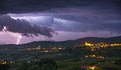 Night shot of a lightning strike in Brda, Slovenia