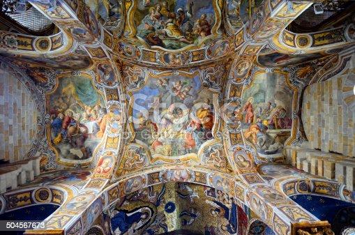 The interior of the church of Santa Maria dell'Ammiraglio from 12 century, aka as the Martorana, Palermo, Sicily, southern Italy