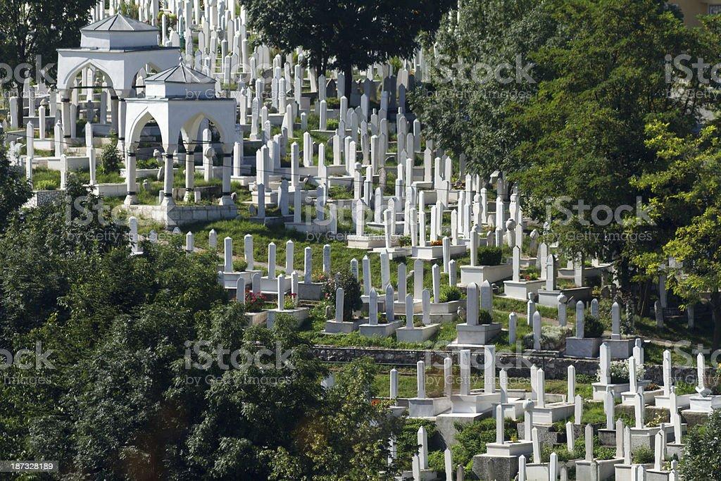 Martyr's Memorial Cemetery Alifakovac in Sarajevo stock photo