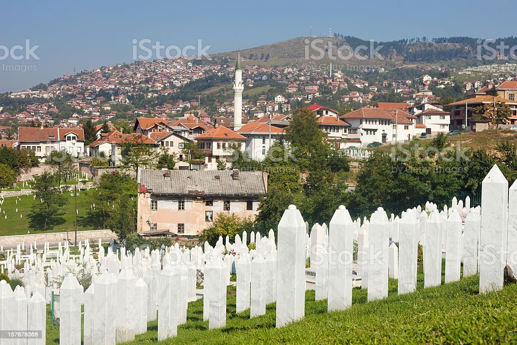 Martyr's Memorial Cemetery Kovaci In Sarajevo stock photo