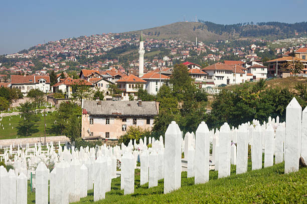 Martyr's Memorial Cemetery Kovaci In Sarajevo Cemetery For Muslims Killed During The Conflict In The Early 1990's In Sarajevo, Bosnia and Hercegovina genocide stock pictures, royalty-free photos & images