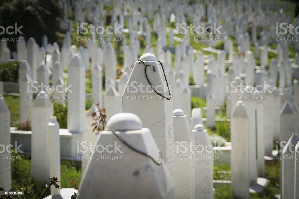 Martyr's Memorial Cemetery Kovaci in Sarajevo stock photo