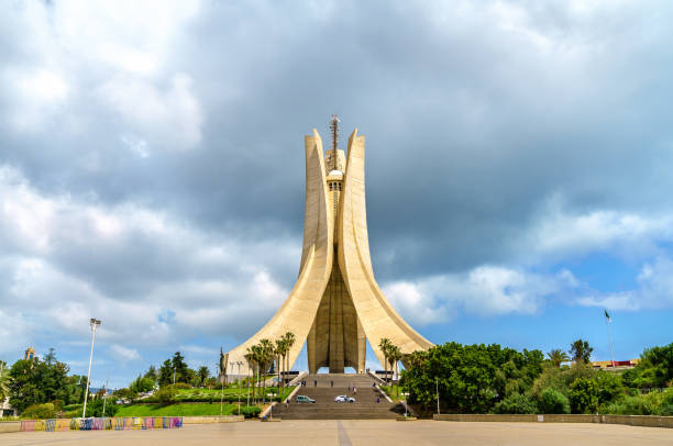 martyrs memorial for heroes killed during the algerian war of independence. algiers - algeria stock photos and pictures