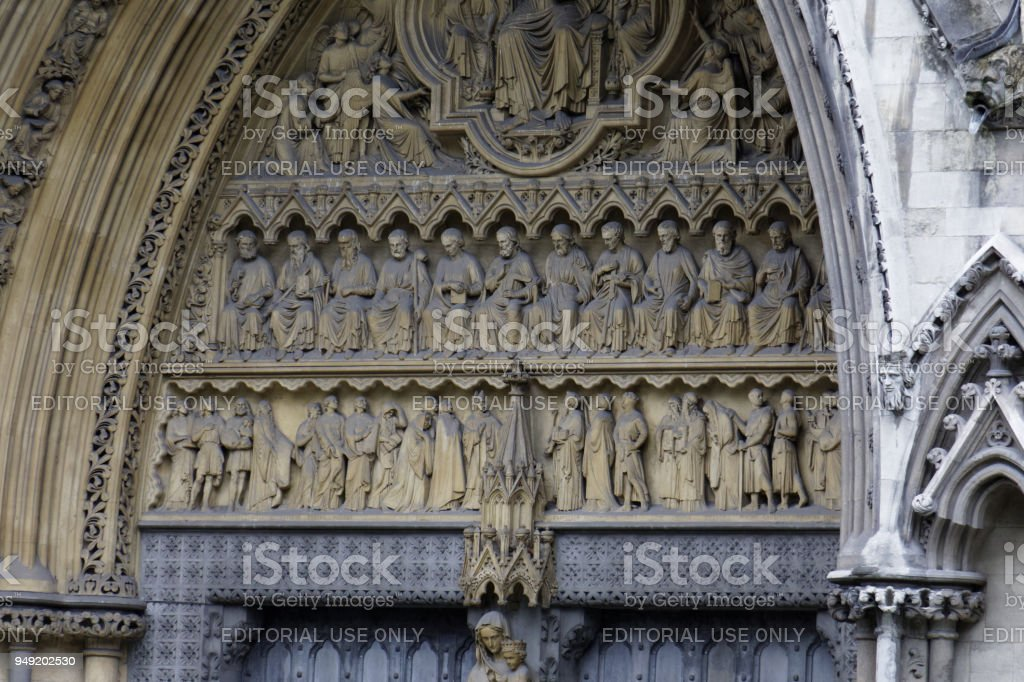 Martyrs on the north facade of Westminster Abbey stock photo