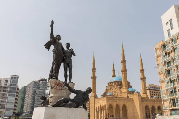 martyrs' square in downtown beirut - beirut стоковые фото и изображения
