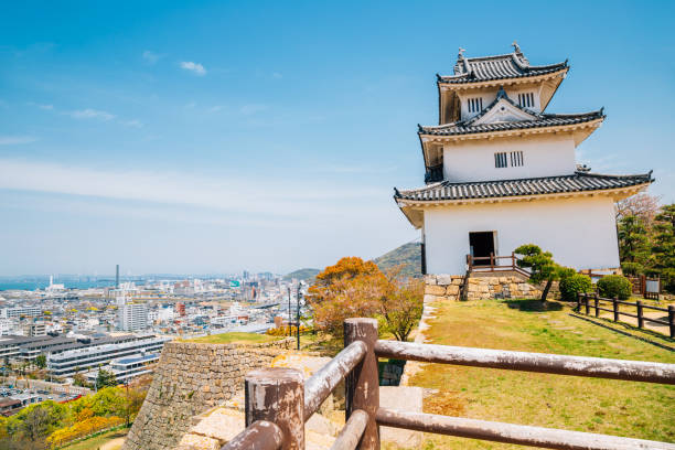 Marugame castle and cityscape in Kagawa, Japan stock photo