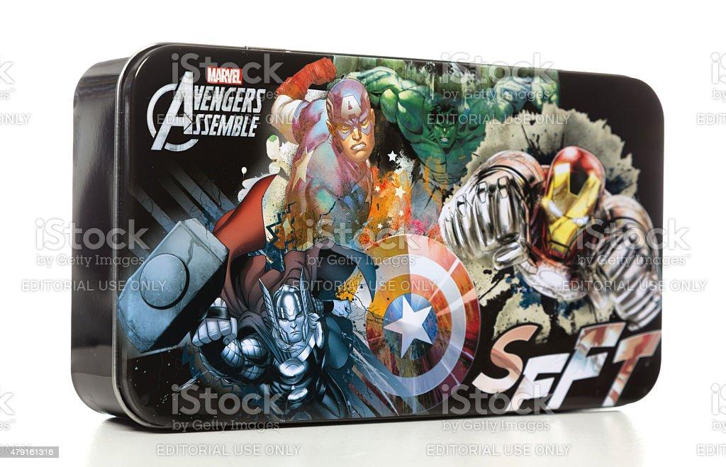Marvel Avengers Assemble metallic pencil box stock photo