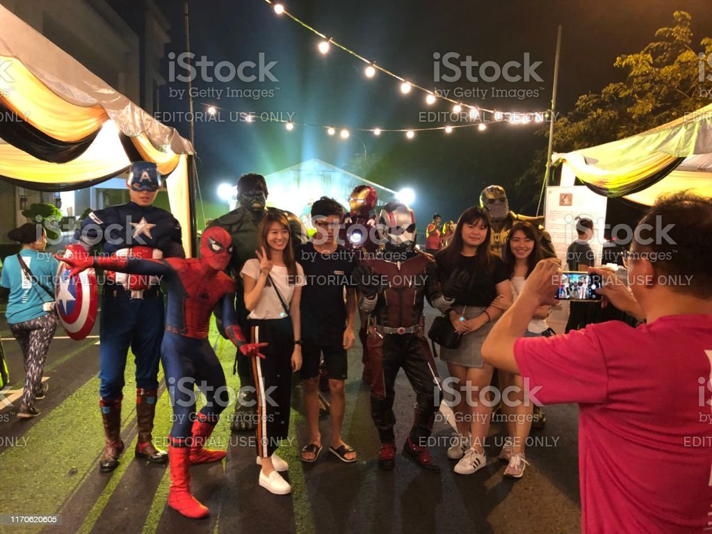In a road show Marvel Comics Cosplay - Avanger -taking photo with...