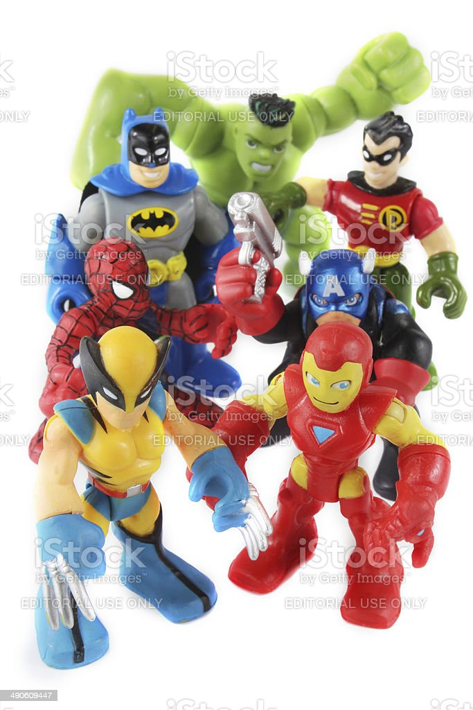 Marvel Super Hero Squad toys figurines stock photo