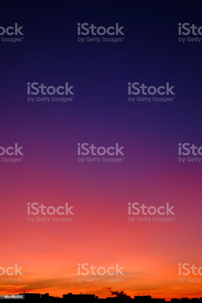 Marvelous gradient skyline during sunset in the city stock photo