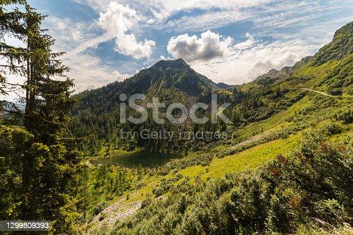 On the path to the famous mountain lake Spiegelsee. Mirror Lake, Reiteralm, Steiermark, Austria.