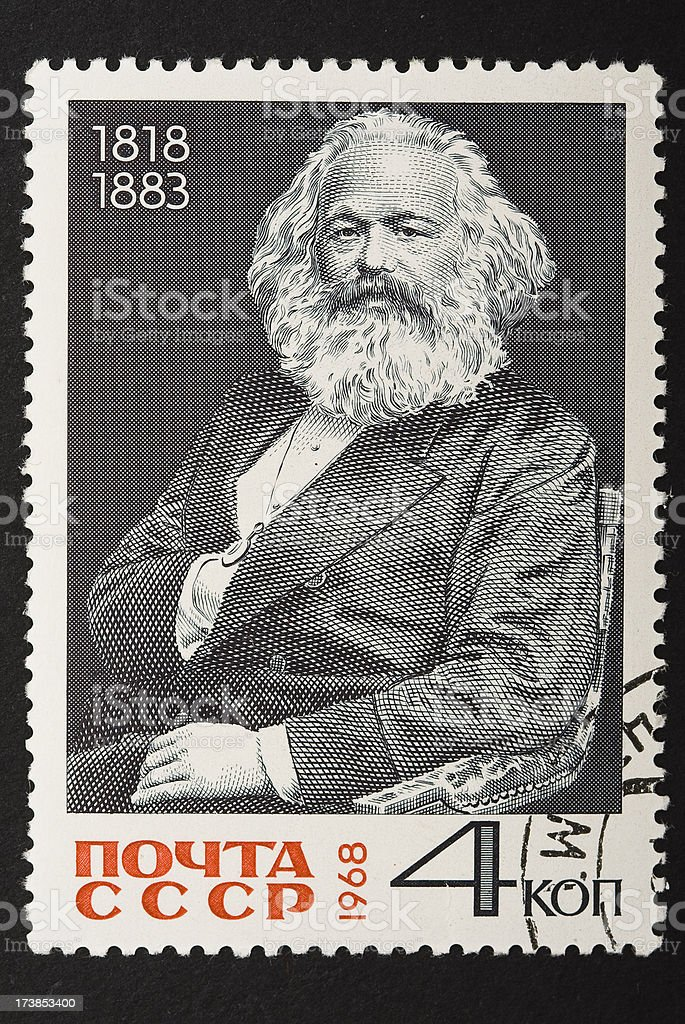 Marx on a soviet stamp with clipping path. stock photo