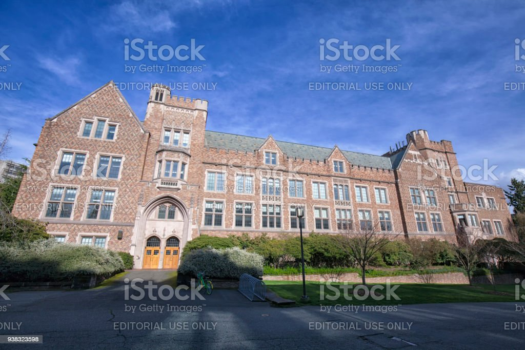 Mary Gates Hall in University of Washington Campus, WA, USA stock photo