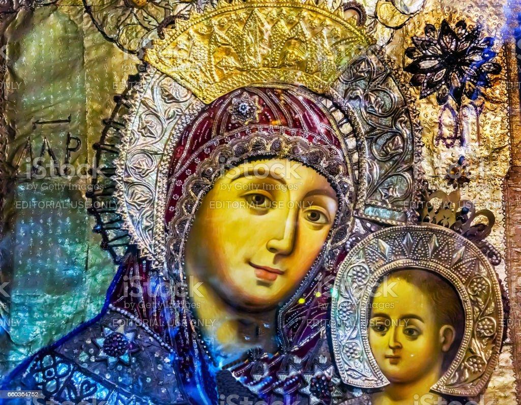 Mary Icon Greek Orthodox Church Nativity Bethlehem West Bank Palestine stock photo