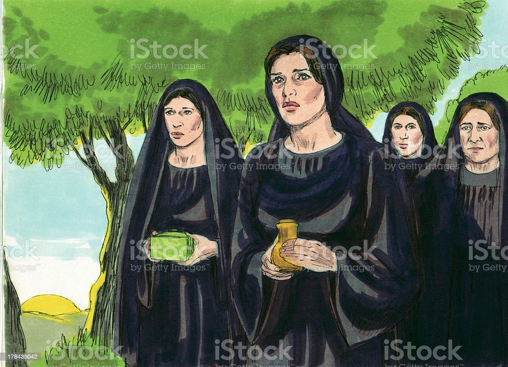 Mary Magdalene and Other Women Return to Tomb stock photo
