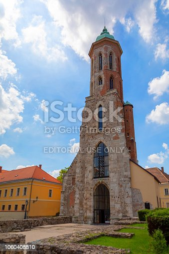 Budapest, Hungary. May 28 2018 :View of Mary Magdalene Church (Maria Magdolna-Churche) in the Castle District of Buda. Church was built in the 13th century. Budapest, Hungary.
