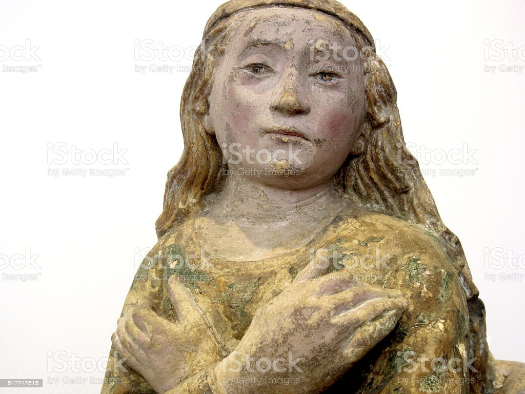 Mary Magdalene wood statue stock photo