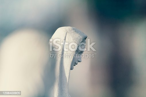 istock Mary mother of Jesus isolated through focus 1206400920