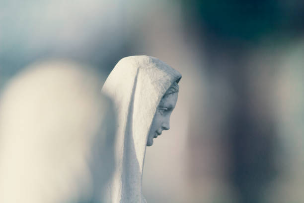 Mary mother of Jesus isolated through focus stock photo