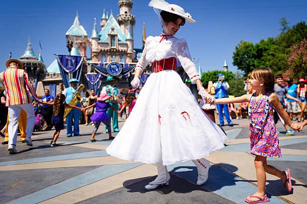 Mary Poppins dances at Disneyland stock photo