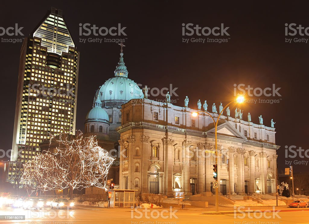Mary Queen of the World Cathedral in Montreal at Night stock photo