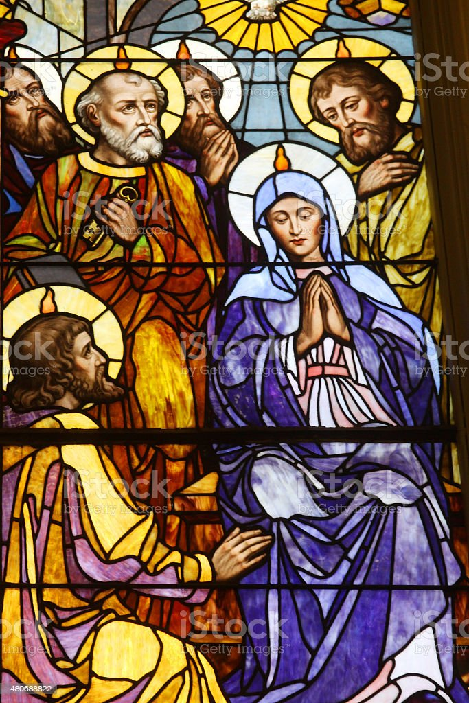 Mary with Jesus-Stained Glass Panel stock photo