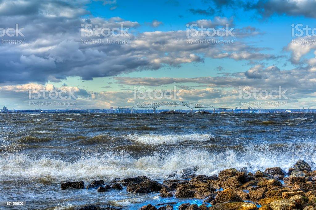 Maryland Chesapeake Bay with Baltimore and Key bridge stock photo