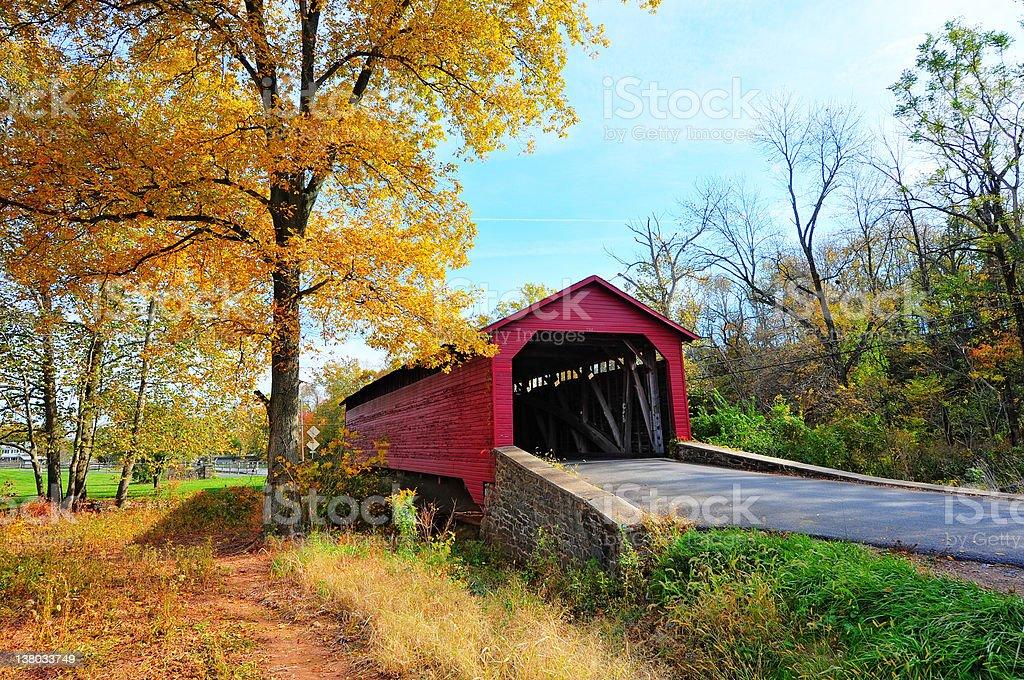 Maryland Covered bridge in Autumn stock photo