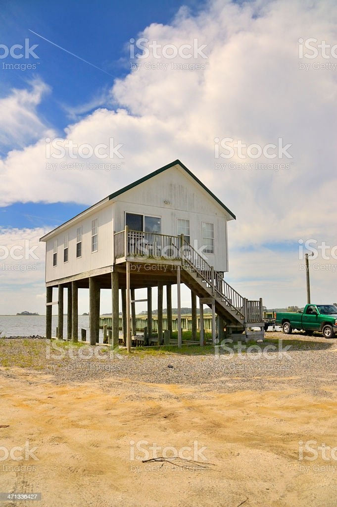 Maryland Eastern Shore Fishing Cabin stock photo