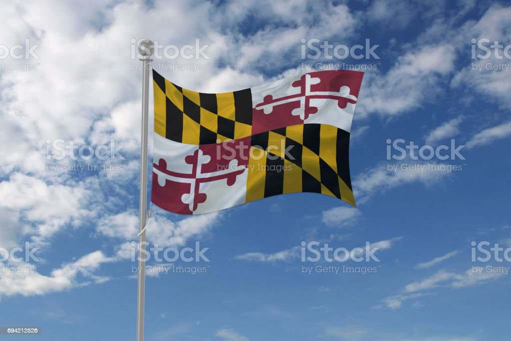 Maryland flag waving in the sky stock photo