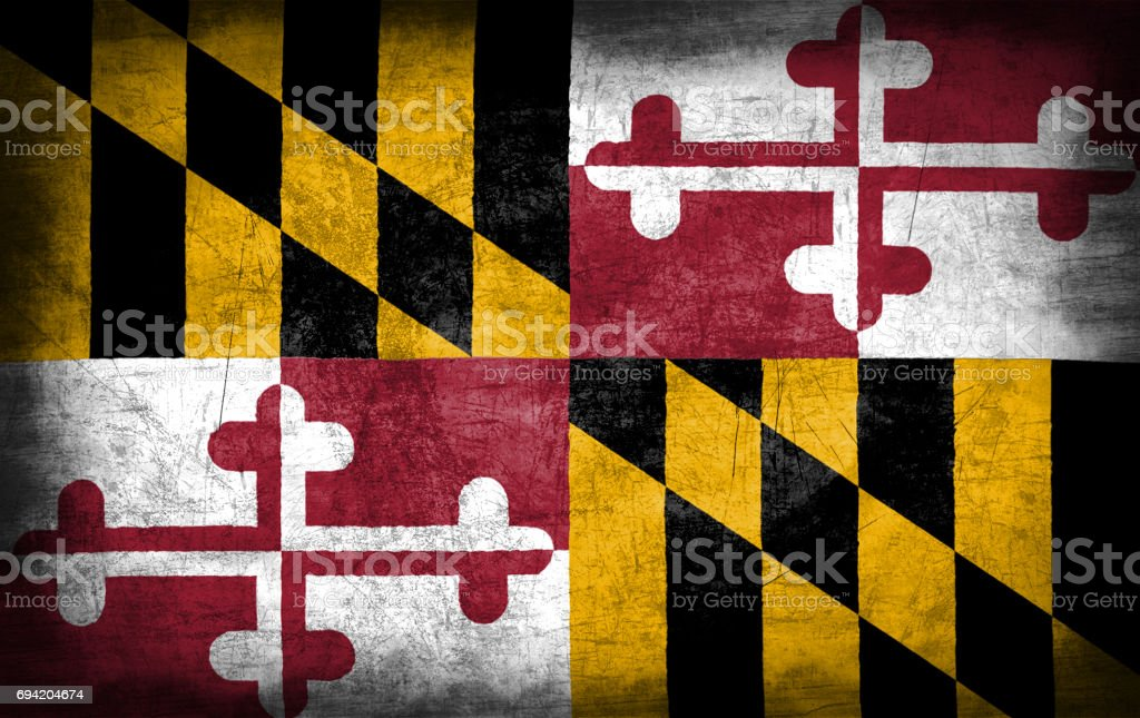Maryland flag with grunge metal texture stock photo
