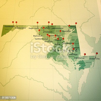 3D Render of a Map of Maryland with Straight Pins at the Position of important Cities. Vintage Color Style. Very high resolution available!  All source data is in the public domain. http://www.naturalearthdata.com/about/terms-of-use/ Made with Natural Earth: Internal Administrative Boundaries,  Populated Places http://www.naturalearthdata.com/downloads/10m-cultural-vectors/