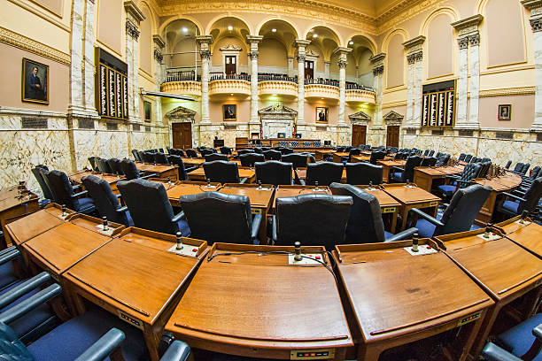 Maryland State Capitol - House Chamber Photo of the House of Representatives chamber within the Maryland state capitol building in Annapolis. local government building stock pictures, royalty-free photos & images