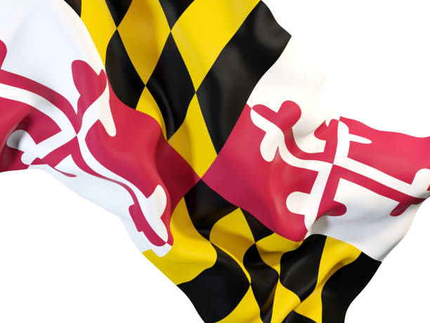 maryland state flag close up. United states local flags maryland state flag close up. United states local flags. 3D illustration maryland us state stock pictures, royalty-free photos & images
