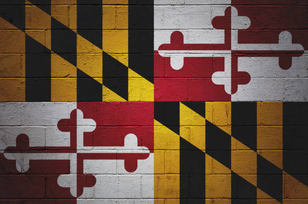 Maryland state flag painted on a wall Flag of Maryland painted on a brick wall. maryland us state stock pictures, royalty-free photos & images