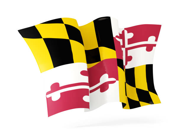 maryland state flag waving icon close up. United states local flags maryland state flag waving icon close up. United states local flags. 3D illustration maryland us state stock pictures, royalty-free photos & images