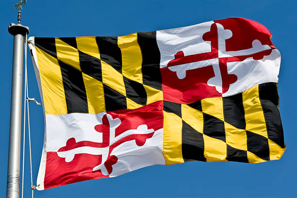 Maryland State Flag Waving In the Breeze stock photo