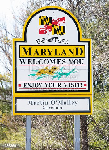 "Emmitsburg, Maryland, USA - March 7, 2011: ""Maryland Welcomes You"" billboard sign on Route 15 southbound just north of Emmitsburg, MD at the Maryland-Pennsylvania state border line."