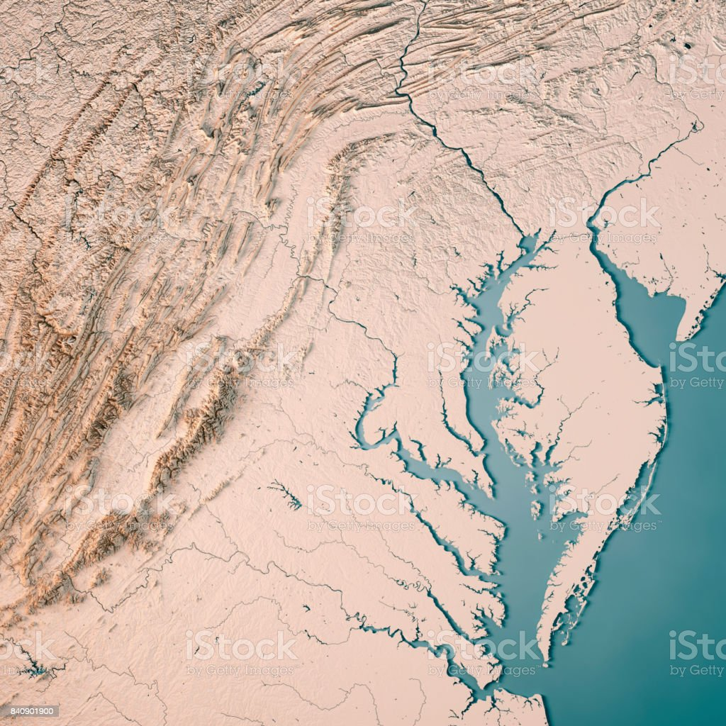 Maryland State Usa 3d Render Topographic Map Neutral Stock Photo - Download  Image Now