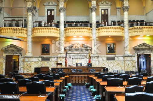 Inside the Senate chambers of the historic Maryland Statehouse