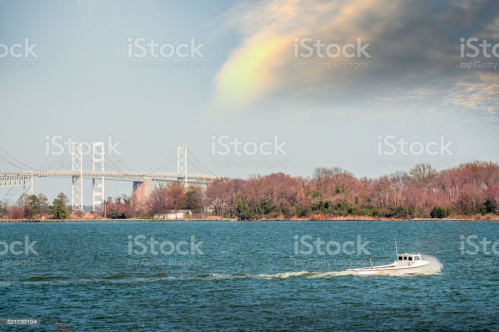 Maryland waterman boat on the Chesapeake bay near Bay Bridge stock photo