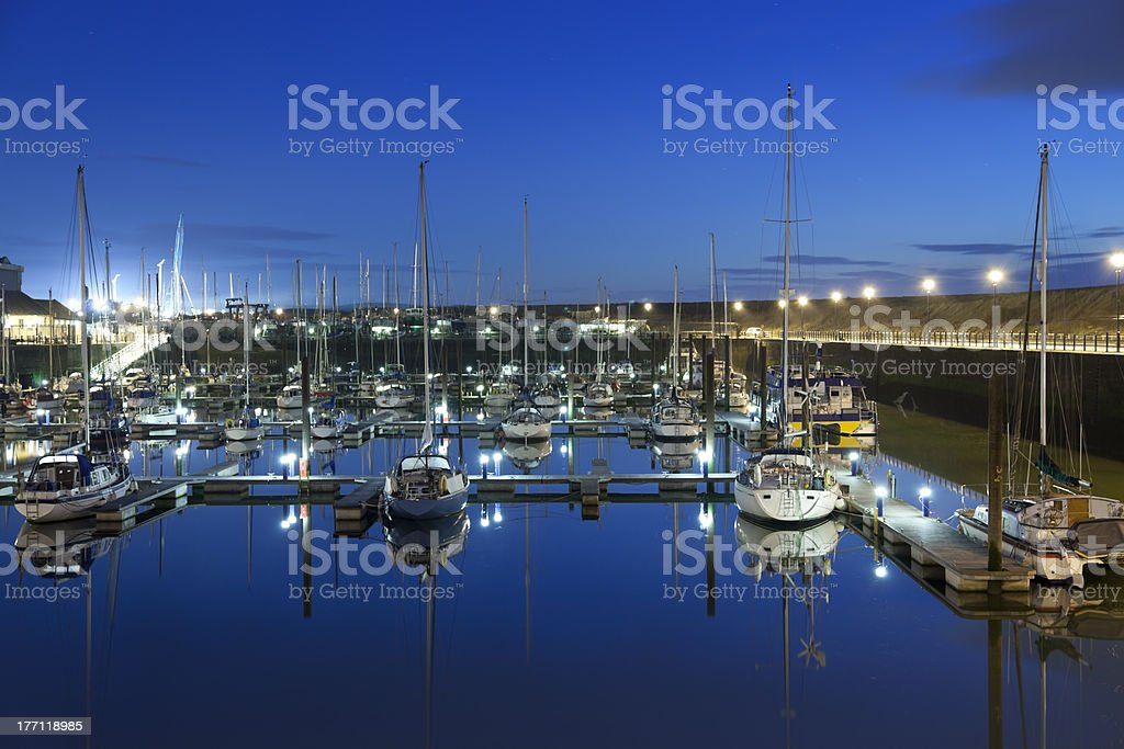 Maryport Harbour at night royalty-free stock photo