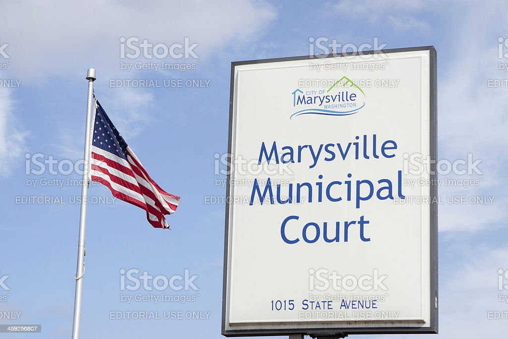 Marysville Municipal Court Sign royalty-free stock photo