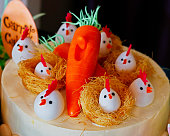 easter decoration birds with eggs and flowers. holidays