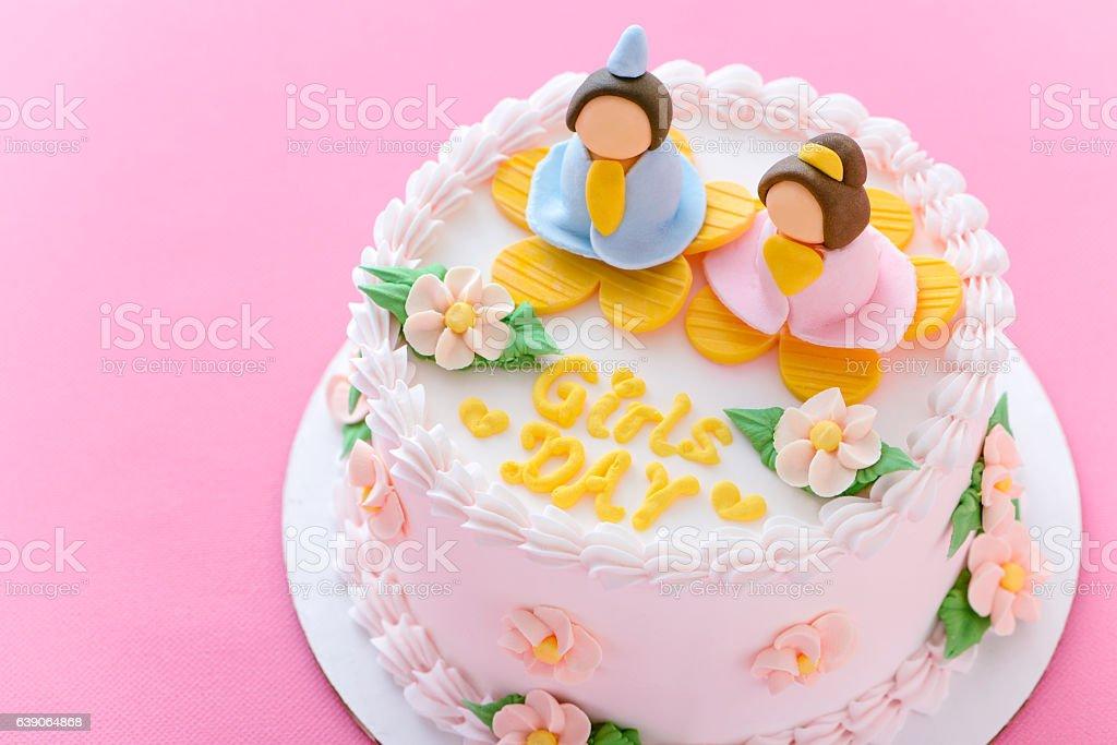 Marzipan cake for Hinamatsuri stock photo