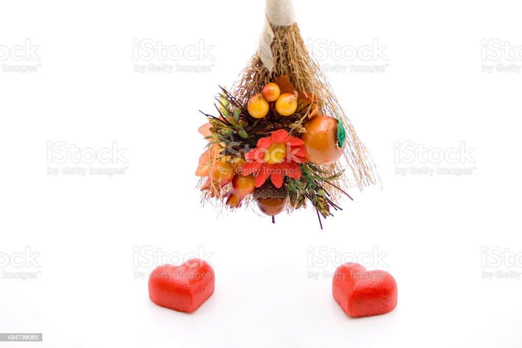 Marzipan heart with flower branch stock photo