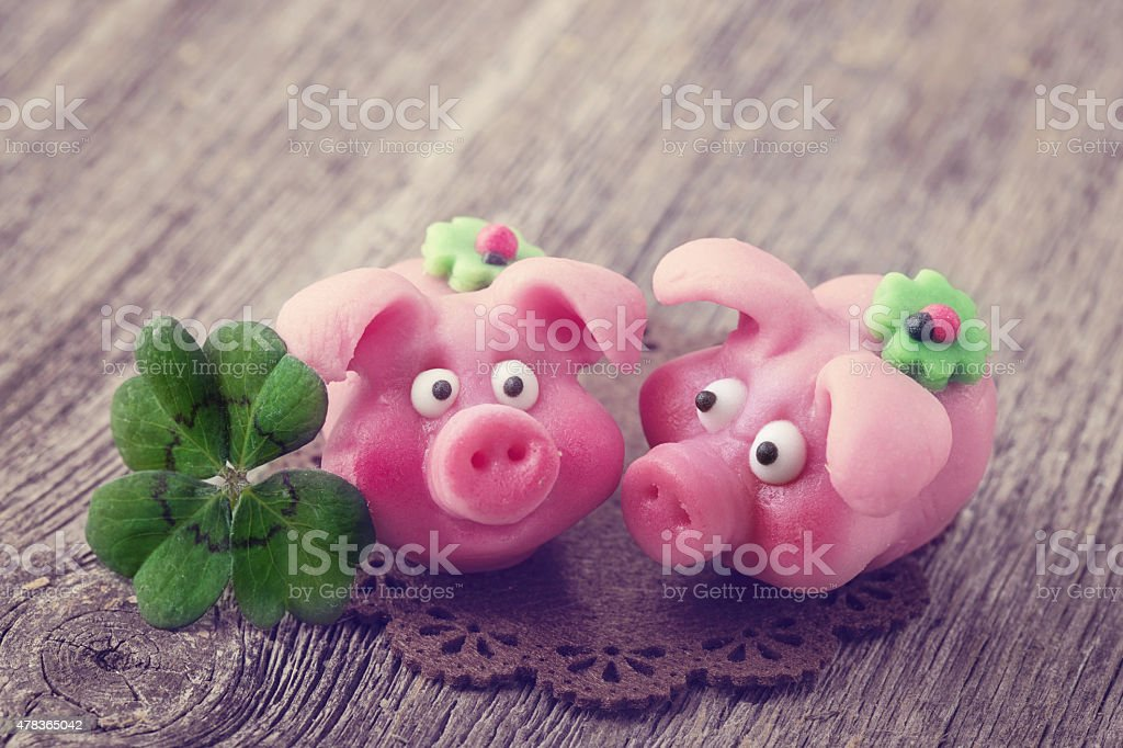 Marzipan pigs stock photo