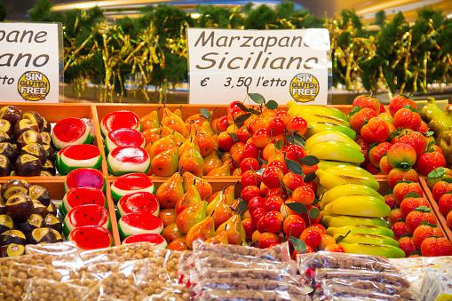 Marzipan sweets on Christmas market in Bergamo