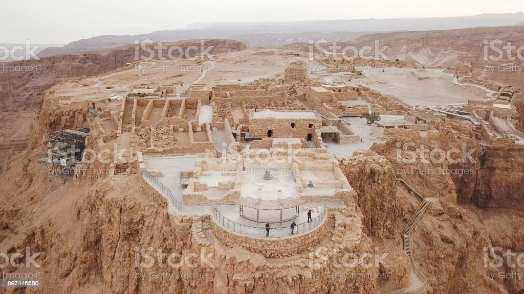 Masada - Aerial image stock photo